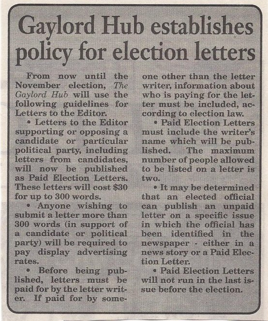 Gaylord Hub election letters policy - Copy
