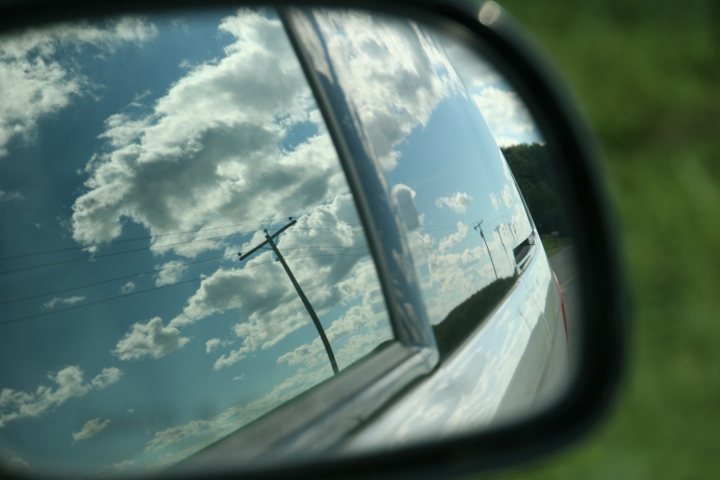 I captured this side mirror image late Sunday afternoon along a rural county road between Ottawa and Le Center.