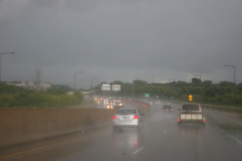 Just out of St. Paul, the sky unleashed torrents of rain.