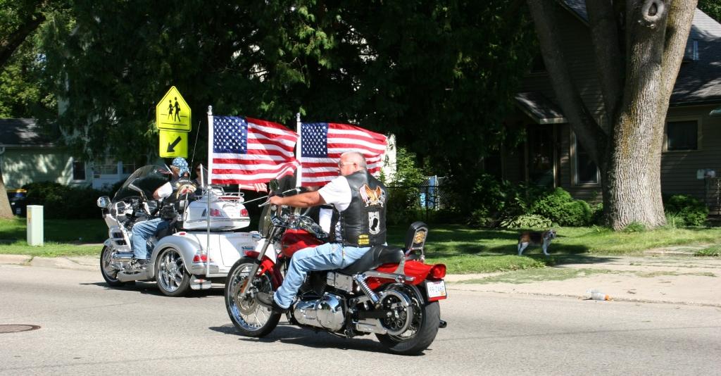 Vietnam Wall Memorial processional, #34 back of 2 bikes
