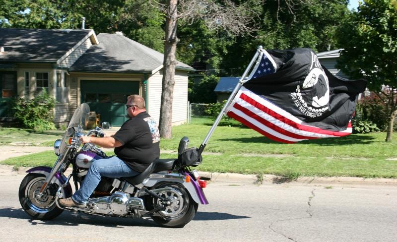 Vietnam Wall Memorial processional, #46 biker & POW flag