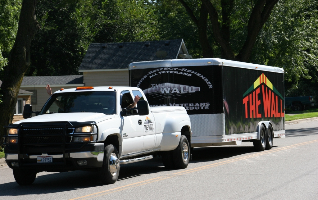 The Traveling Wall arrives in a trailer near the end of the processional.