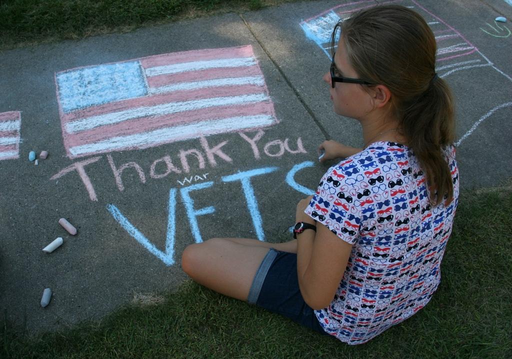Vietnam Wall Memorial processional, #9 American flag in chalk