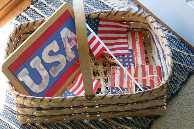 Vietnam Wall prep, #24 basket of American flags