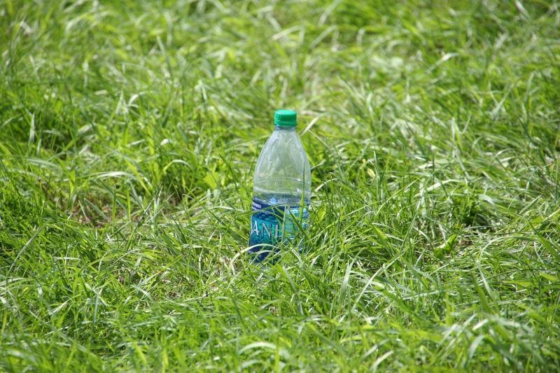 This water bottle was sitting in the grass at Sunday's event.