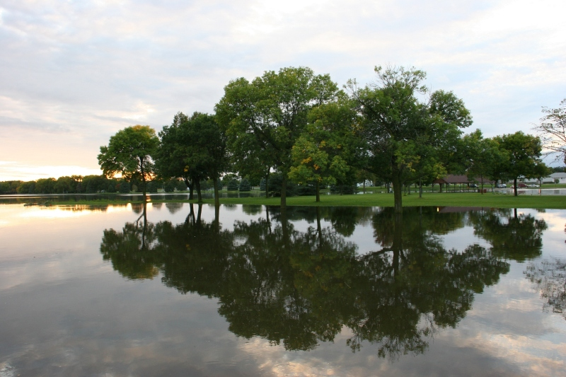 In the midst of the flooding, beauty is reflected, here on the Cannon River.