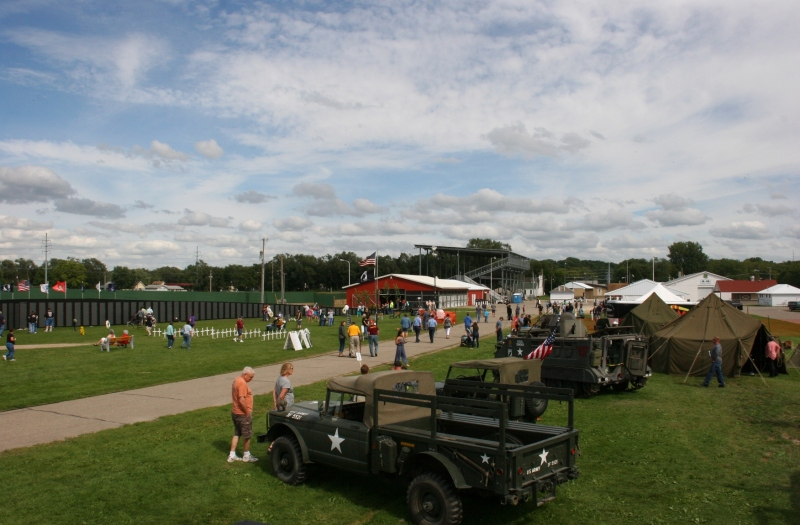 An overview of the scene at the Rice County Fairgrounds Saturday afternoon with the wall in the background.