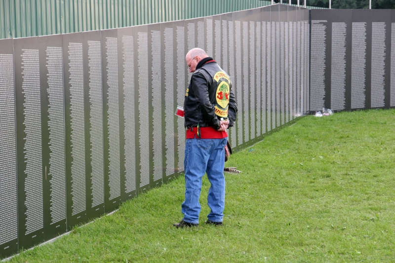 Traveling Vietnam wall, #37 vet viewing wall