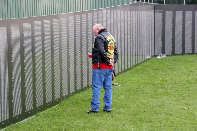 Traveling Vietnam wall, #37 vet viewing wall