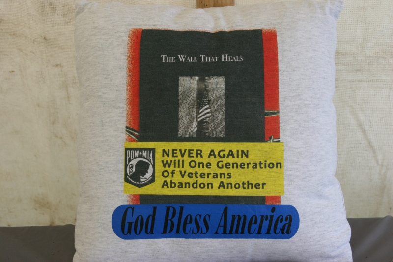 The veteran volunteering in the MIA-POW tent told me his wife sewed a pillow from this over-sized t-shirt.