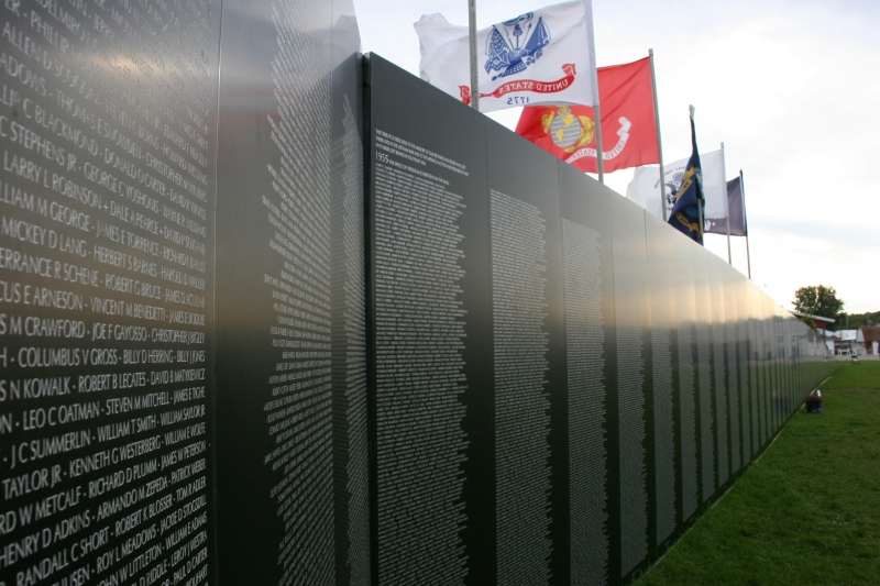 Rows and rows of names fill the panels comprise the Traveling Vietnam Memorial Wall.