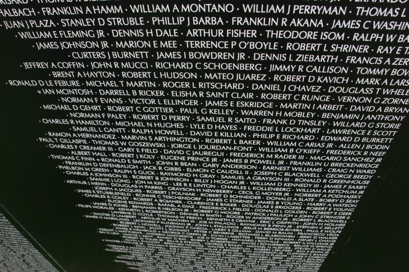 I lifted my camera and pointed the lens down at a panel filled with names of soldiers.