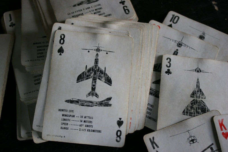 Even the soldiers' playing cards were military themed.