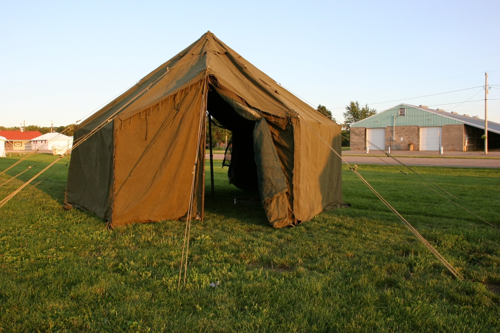 Several military tents have been set up at the fairgrounds.