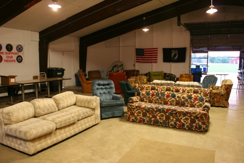 Locals brought in their personal furniture to furnish the lounge.
