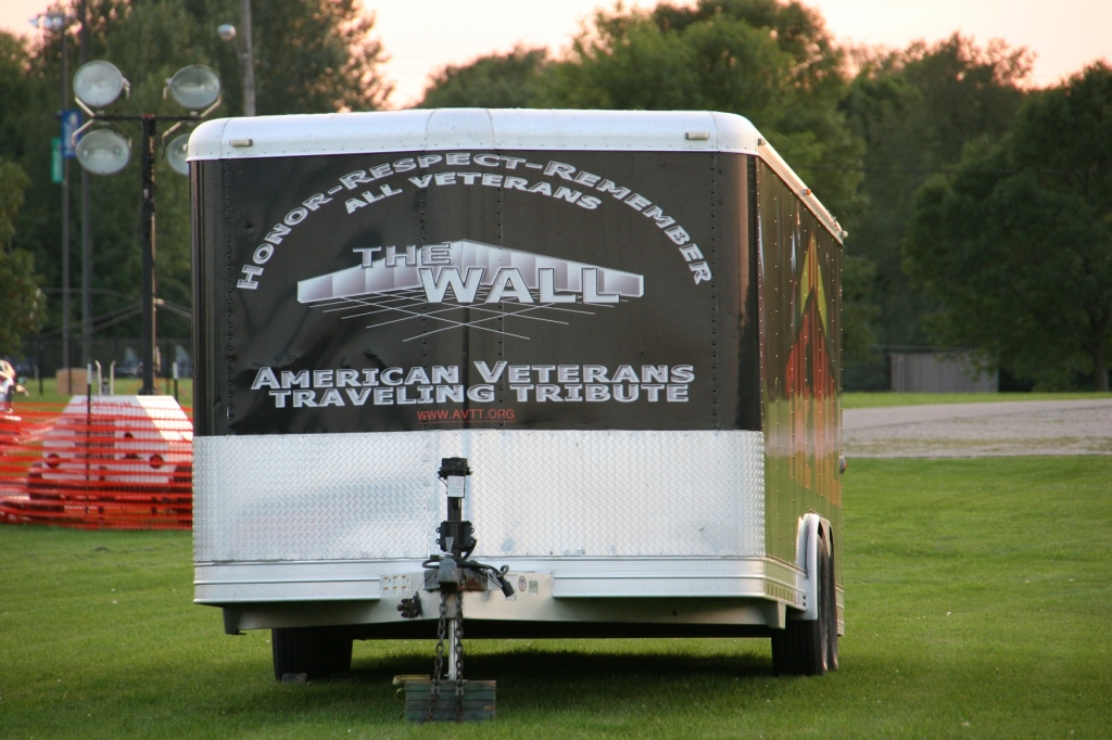 The front of the wall trailer delivers a message of honor and respect.