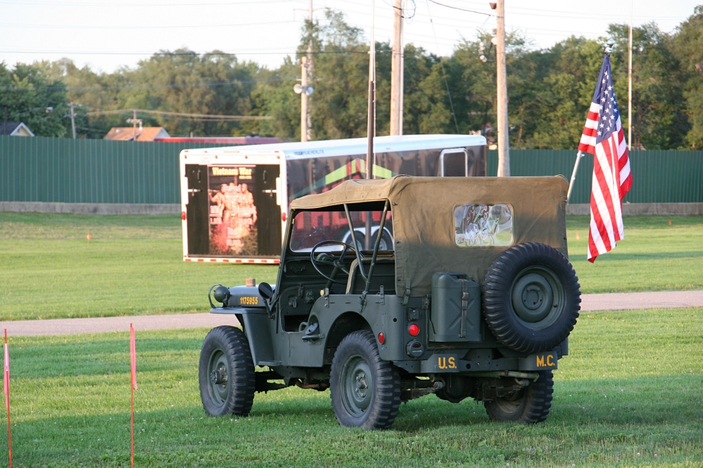Visitors can view items, like this jeep, part of a military exhibit.