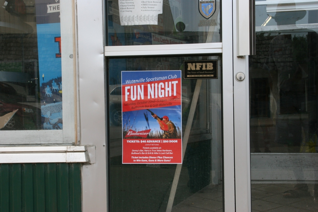 You can learn a lot about a small town simply by reading the posters, signs and notices on storefront windows and doors.