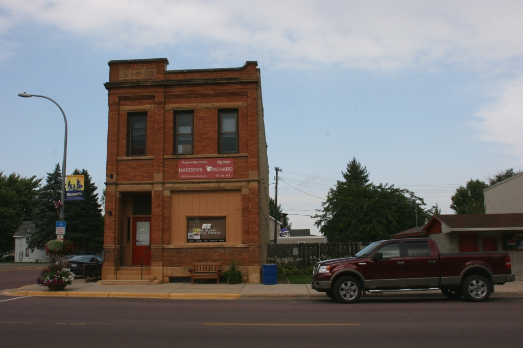 Madden's Orchard occupies this corner building next to a community park.