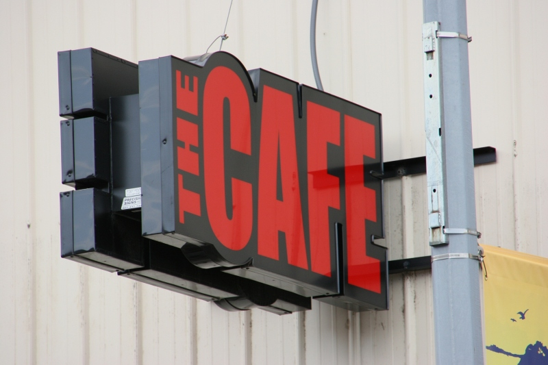 I love this simple, bold graphic marking The Cafe.