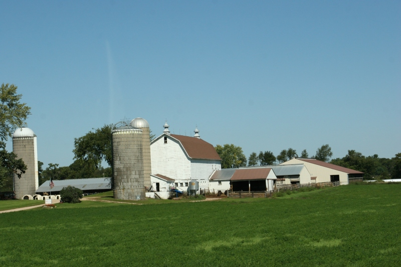 Small family farms abound along Wisconsin State Highway 21.