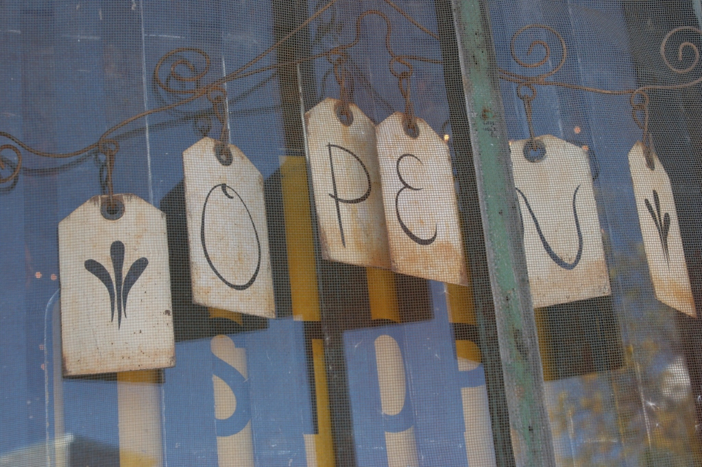 Even the OPEN sign on the front door is creatively appealing.