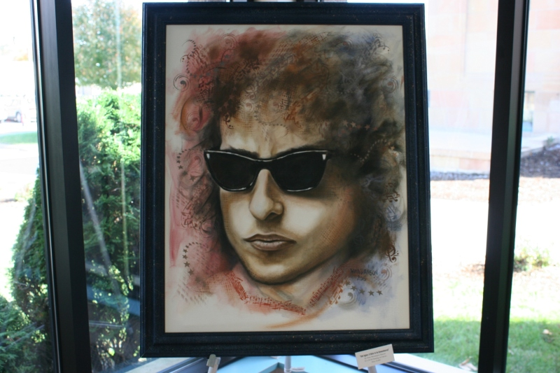 """Bob Dylan: A Voice to be Remembered,"" a 22 x 28-inch oil portrait by Dana Hanson priced at $1,400."