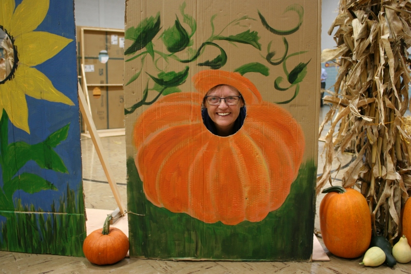 When we were setting up Friday evening, I asked my friend Patty to pose in a photo cut-out. She obliged.