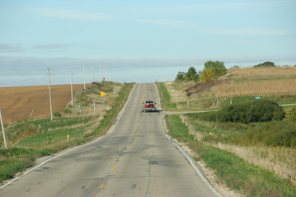 Driving west on Minnesota State Highway 99 toward Le Center.