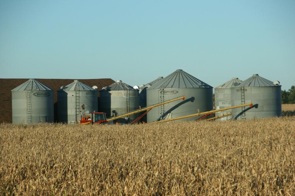 Grain bins near Waterville.