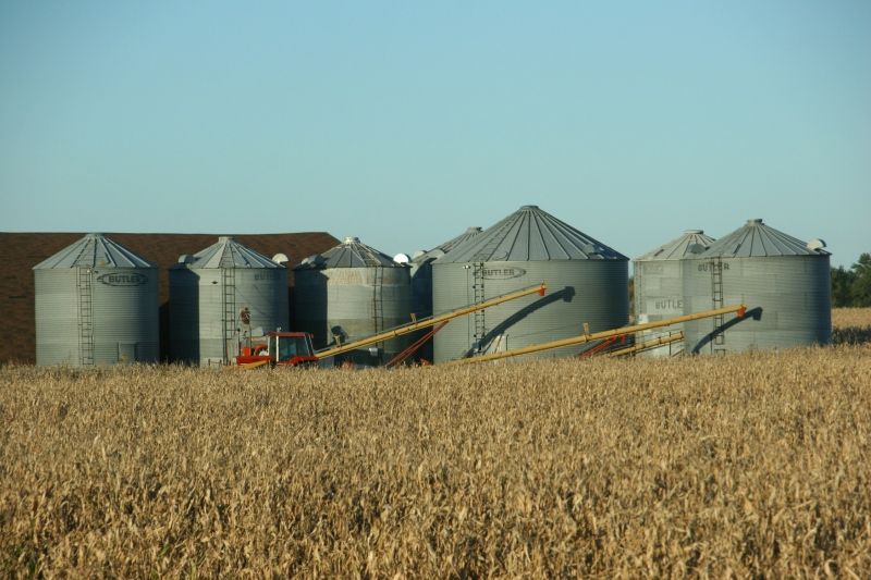 Grain bins near Waterville.