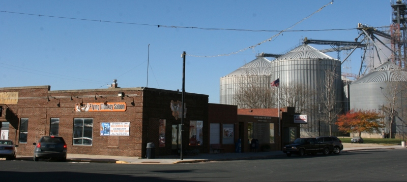 A snippet of downtown Hayfield looking from The Flying Monkey Saloon toward the post office and grain elevator.
