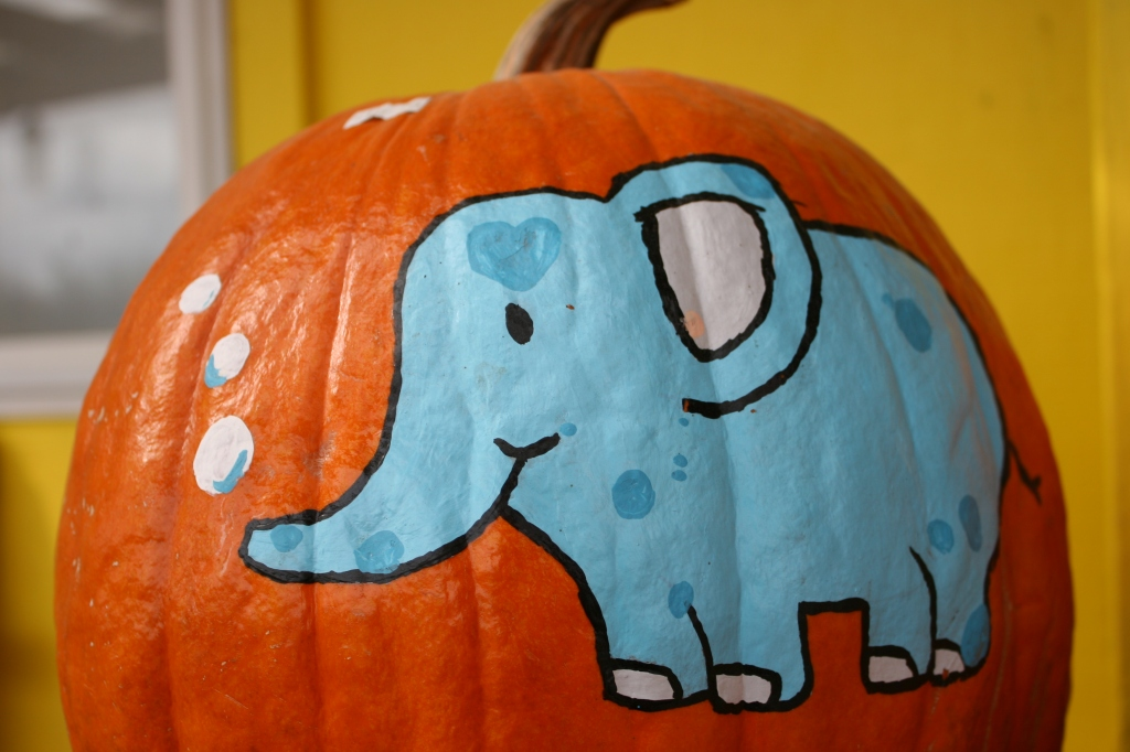 Some of the pumpkins for sale are painted. This was a favorite since it reminds me of Tufts University, my son's alma mater. Tufts' mascot is an elephant, its school color blue.