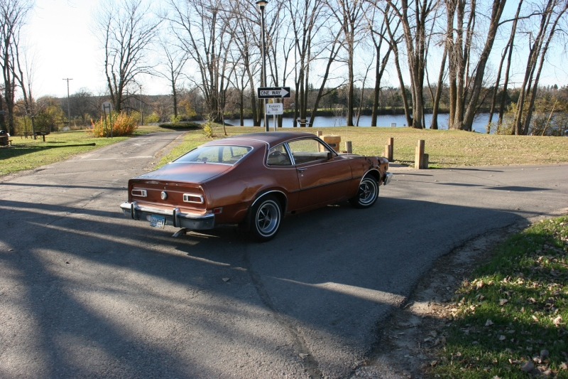 Taking the 1970s Ford Maverick out for a cruise Sunday afternoon by Lake Kohmier.