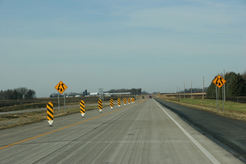 West of Nicollet, signage warns drivers that Highway 14 goes back to two-lane.