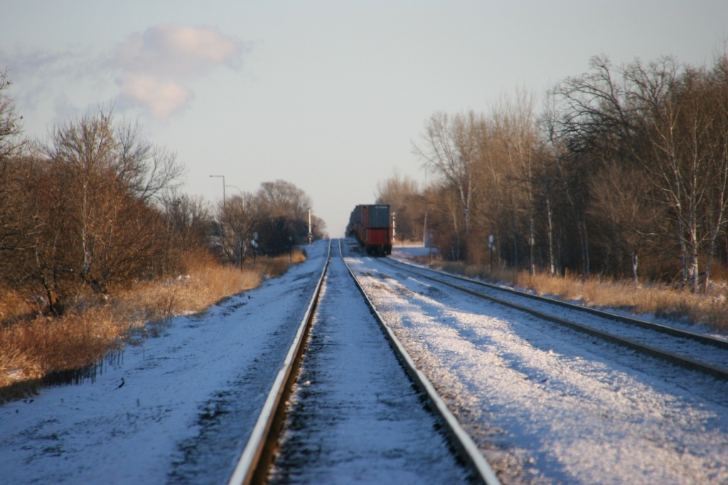 I photographed this train by the Minnesota State Correctional Facility in St. Cloud. It's heading for Clear Lake.