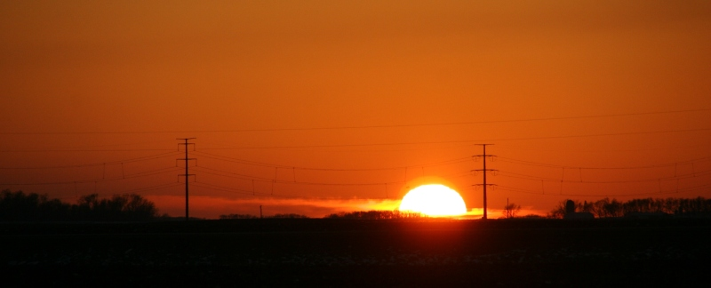 A prairie sunset photographed from Minnesota State Highway 67 between Redwood Falls and Morgan.