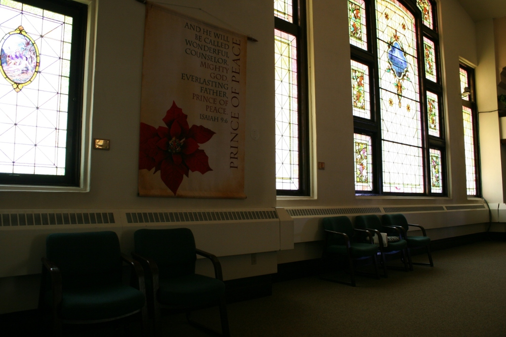 Stunning stained glass windows at the back of the sanctuary.