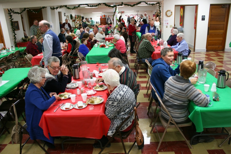 Diners sat down to a holiday meal in the church basement.