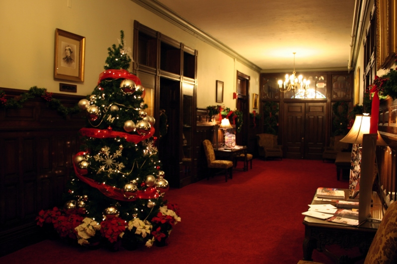 The decorated entry of Shumway Hall.