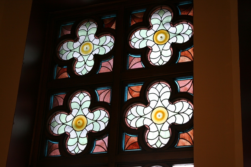 The historic buildings feature lots of stained glass windows.