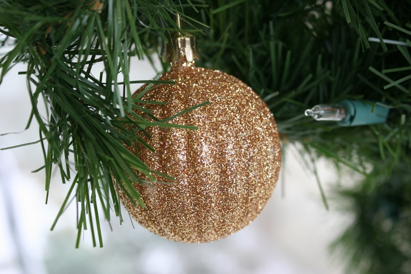 An ornament sparkles on one of many Christmas trees on campus.