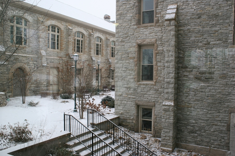 I entered the Shattuck complex through a rear entry and shot this from inside, showing the stone exteriors of campus buildings.