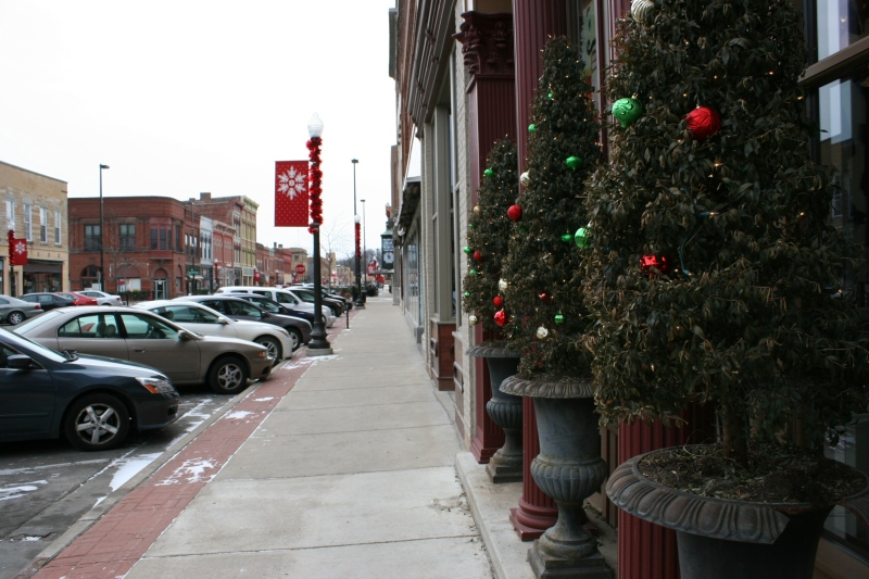Bluebird Cakery in historic downtown Faribault is decorated for the holidays.