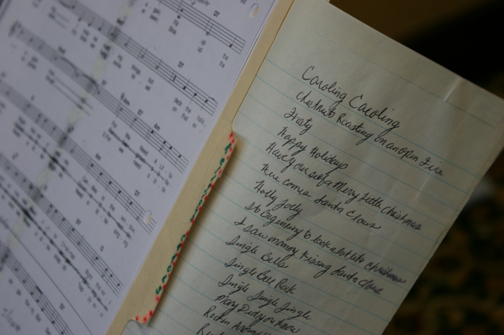 The musicians' list of holiday songs and music.