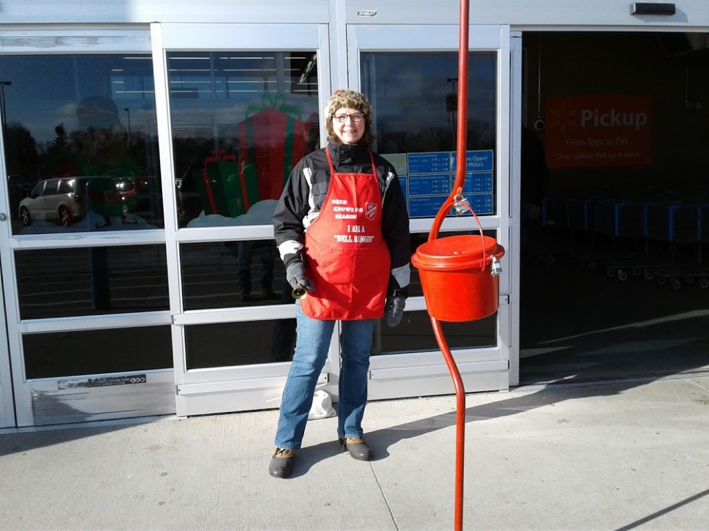 Me, ringing bells for the Salvation Army on Saturday morning in Faribault. Photo by Randy Helbling.