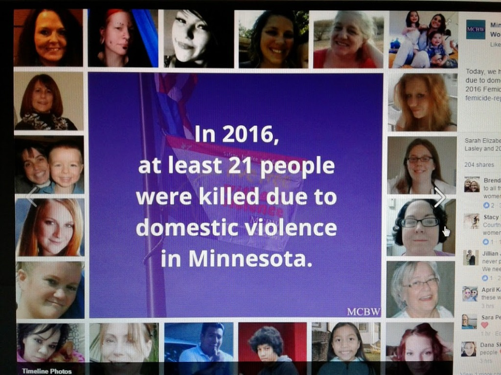 A photo of a graphic posted on the MCBW Facebook page shows photos of all 21 individuals who died as a result of domestic violence homicide in 2016 in Minnesota. Barb Larson