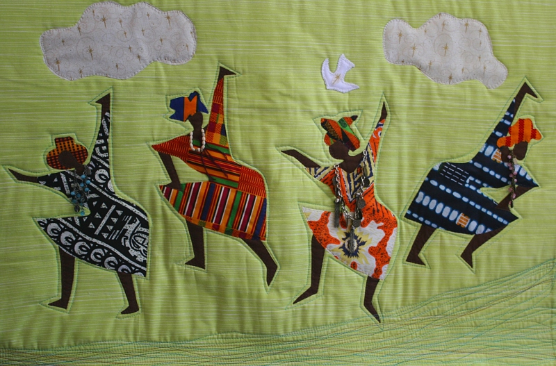 Artist Susan Griebel crafted this quilted art from fabric her mother-in-law, Margaret Griebel, had gotten in Africa.