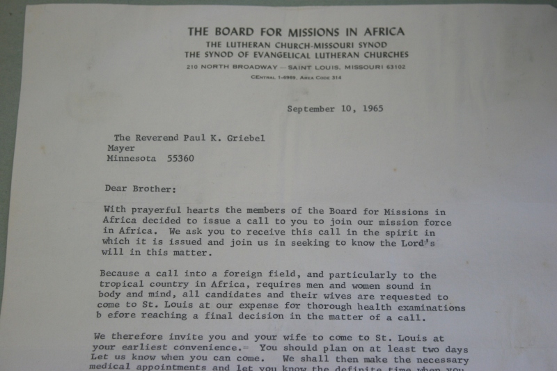 The letter calling the Rev. Paul Griebel and his family to the mission field in Nigeria.