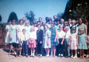 Missionary children at ELM House (Evangelical Lutheran Mission House) in Nigeria. Missionary children lived in the hostel so they could attend boarding school in Jos, Nigeria. The Rev. Paul and Margaret Griebel served as houseparents. Three of their children, including Kirk, are pictured in this group photo.